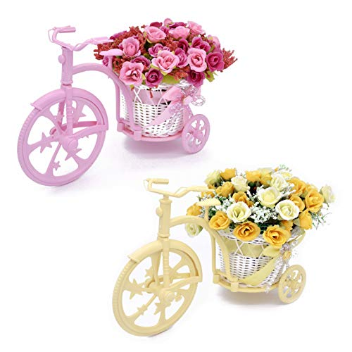 Louis Garden Nostalgic Bicycle Artificial Flower Decor Plant Stand (Pink+Yellow) from Louis Garden