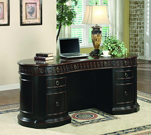 Oval Pedestal (Coaster Rowan Traditional Oval Executive Double Pedestal Writing Desk)