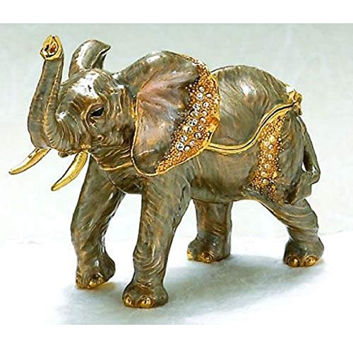 Kubla Craft Elephant Austrian Crystal Enameled African Wild Life Jewelery Trinket Box