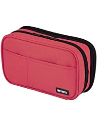 LIHIT LAB. Double Zipper Pen Case, 7.9 x 2.8 x 4.7 inches, Coral (A7555-103)