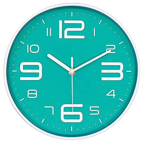 45Min 10-Inch 3D Number Dial Face Modern Wall Clock, Silent Non-Ticking Round Home Decor Wall Clock with Arabic Numerals, 7 Colors(Cyan) (Turquoise Wall Clock)