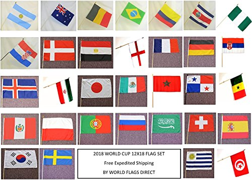 WORLD CUP 2018 SOCCER FLAGS 2018 - SET of 32 Polyester 12
