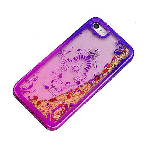 Trumpshop Smartphone Carcasa Funda Protección para Apple iPhone 7 (4.7-Pulgada) + Torre Eiffel + Fina de TPU Transparent Liquido Dinámica Sparkle Estrellas Quicksand Caja Protectora Flores de Phoenix