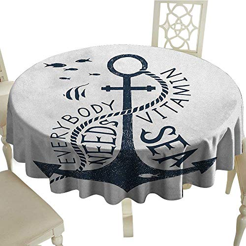 "longbuyer Anchor Customized Tablecloth Hand Drawn Everybody Needs Vitamin Sea Quote Monochrome Fish Silhouette Diameter 54"",Suitable for Kitchen, dustproof Desktop Decoration"