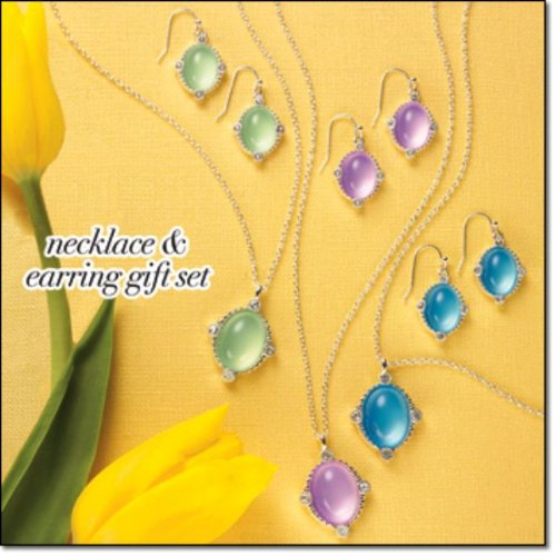 Delicate Shine Necklace and Earring Gift Set (Green)