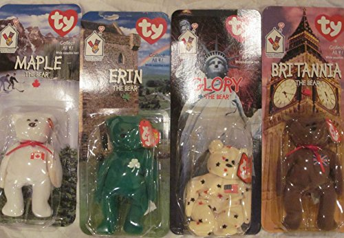 Set of Four Ronald McDonald House Charities Ty Beanie Babies - Maple, Erin, Glory and Brittannia