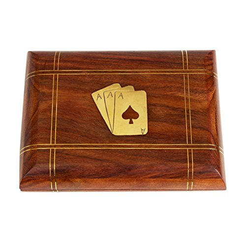 (storeindya Handmade Wooden Decorative Playing Card Box organizer with 2 Decks of card Free (Design 1))
