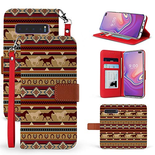 Beyond Cell Wallet Case Compatible with Samsung Galaxy S10+ Plus with Synthetic PU Leather, Card Slots, Magnetic Flip Cover and Atom Cloth - Brown Horses from Bemz Depot