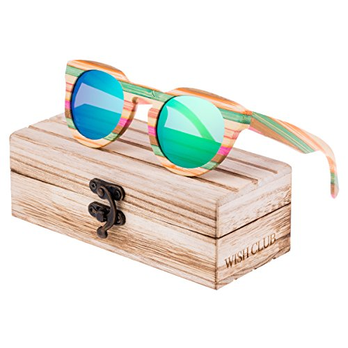 WISH CLUB Polarized Rainbow Wood Beach Round Sunglasses for Women mirrored Lenses Wooden Bamboo Sun Glasses for Girls Oval Colorful UV 400 Retro Lightweight Eyewear - Sunglasses Wish