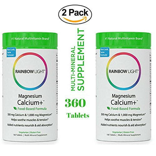 - Rainbow Light - Magnesium & Calcium+ Supplement (2 Packs of 180 Tablets) - Promotes Healthy Bones and Teeth, Support for Muscle Aches and Cramps, Protects and AIDS Absorption & Digestion - Vegetarian