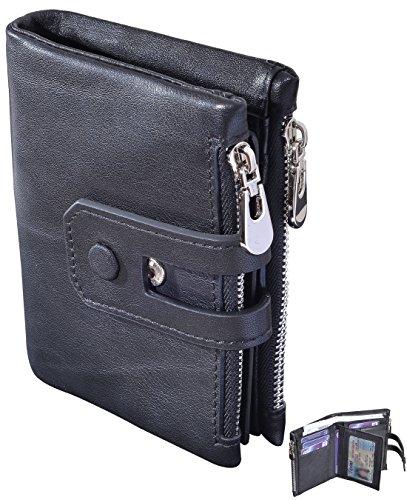 Bi Fold Coin Wallet - Beurlike Men's Wallets RFID Blocking Genuine Leather Bifold Wallet 2 Zip Pocket (Black)