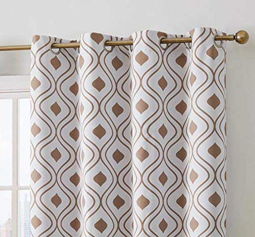 HLC.ME Ogee Trellis Print Blackout Grommet Curtain Panels for Bedroom - 99% Light Blocking - Thermal Insulated Decorative Pair for Privacy - Set of 2 (52