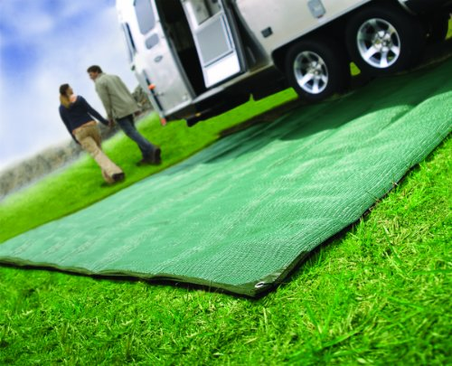 Camco Durable Reversible RV Awning Mat- Mildew and Rust Resistant Help Prevents Dirt From Being Tracked - Perfect for Beaches and Picnics 6' X 9'- Green (42880) by Camco (Image #1)
