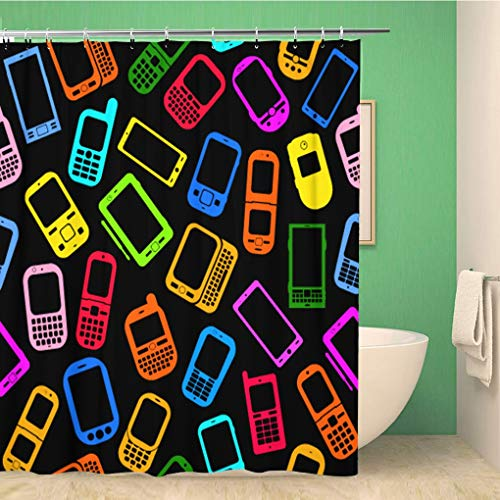 Cdma Pda Smartphone - Awowee Bathroom Shower Curtain Colorful Phone Made Mobile Devices on Smartphone Pattern Cellphone 66x72 inches Waterproof Bath Curtain Set with Hooks