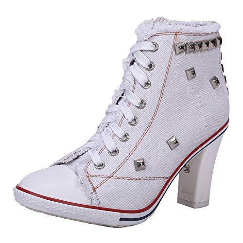 - Women's Rivet Canvas Lace Up Sneakers Chunky Heel Fashion Ankle Boots White Label 37 - US 6.5