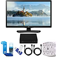 "LG 24LJ4540-WU 24"" HD LED TV - White (2017 Model) Plus Terk Cut-the-Cord HD Digital TV Tuner and Recorder 16GB Hook-Up Bundle"