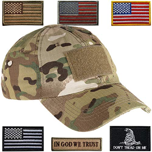 Lightbird Tactical Hat with 6 Pieces Tactical Military Patches, Adjustable Operator Hat, Durable Tactical OCP Flag Ball Cap Hat for Men Work, Gym, Hiking and More (Camoflauge Cap Adjustable)
