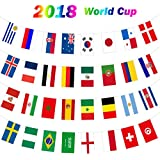 2018 World Cup Banner String Flag Bunting, Top 32 Country Russia World Cup Flags Bars/Fan Clubs/Sports Clubs/World Cup Decorations- 8.2 x 5.5 inches