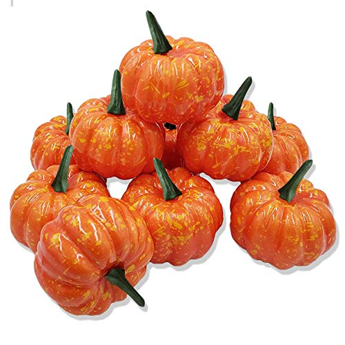 SOHOUR Halloween Artificial Pumpkins Decoration Fake Fruit Artificial Vegetables Trick or Treat for Autumn Garden Home House Kitchen(Orange pumpkin10pcs)