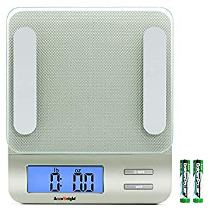 Accuweight 207 Digital Kitchen Multifunction Food Scale for Cooking with Large Back-lit LCD Display,Easy to Clean with Precision Measuring,Tempered Glass (Silver) 51DQH4tDkuL