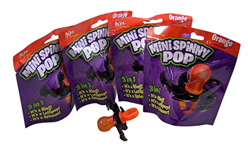 Halloween 3 in 1 Mini Spinny Bat Ring Pop Candy Lollipop, Pack of -