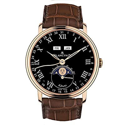 Blancpain Villeret Complete Calendar 8 Days Black Dial Mens Watch 6639-3637-55B