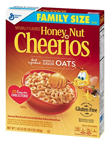 Honey Nut Cheerios, Gluten Free, Cereal with Oats, 19.5 oz