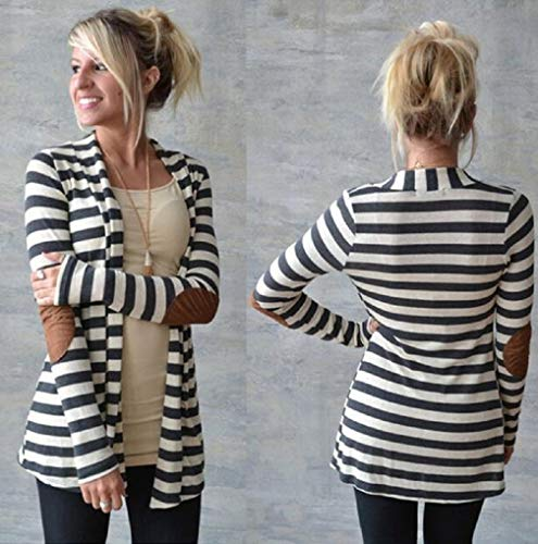 Autumn Striped White Cardigans Long Outwear Sleeve TUDUZ Patchwork Women Casual Pxw515Cq
