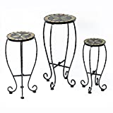 Outsunny Set of 3 Plant Stand Outdoor Round Bistro Flower Mosaic Table Garden Display Rack Stool Plant Stands Home Décor