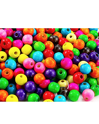 BcPowr 500 PCS Assorted Color Round Wood Beads,Large Hole Round Wood Spacer Beads for DIY Project, Wooden Spacer Beads