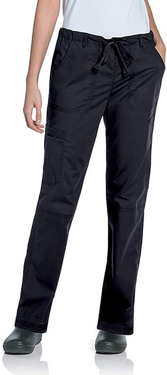 Landau Women's 5-Pocket Elastic Waist Drawstring Cargo Stretch Scrub Pant
