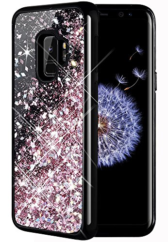 Caka Galaxy S9 Case, Galaxy S9 Glitter Case [Starry Night Series] Luxury Fashion Bling Flowing Liquid Floating Sparkle Glitter Girly TPU Bumper Case for Samsung Galaxy S9 - (Rose Gold)