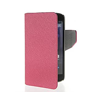 KCASE Thin Flip Leather Wallet Card Holder Slim Pouch Stand Case Cover For LG Google Nexus 4 E960 Hotpink