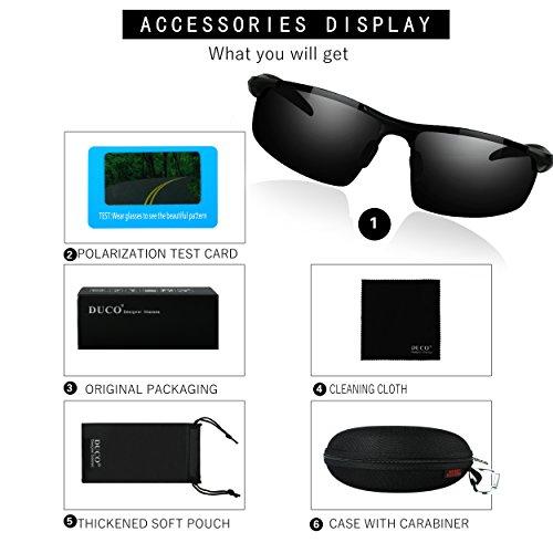 f4ea62b33d3 DUCO Mens Sports Polarized Sunglasses UV Protection Sunglasses for Men 8177s(Black  Frame Gray Lens