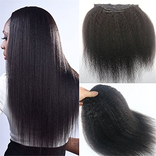 Afro African American Black Clips In Human Remy Hair Extension Kinky...