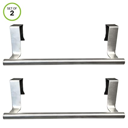 Evelots Towel Bar Over Cabinet Door In Or Out Kitchen Bathroom Stainless Set 2