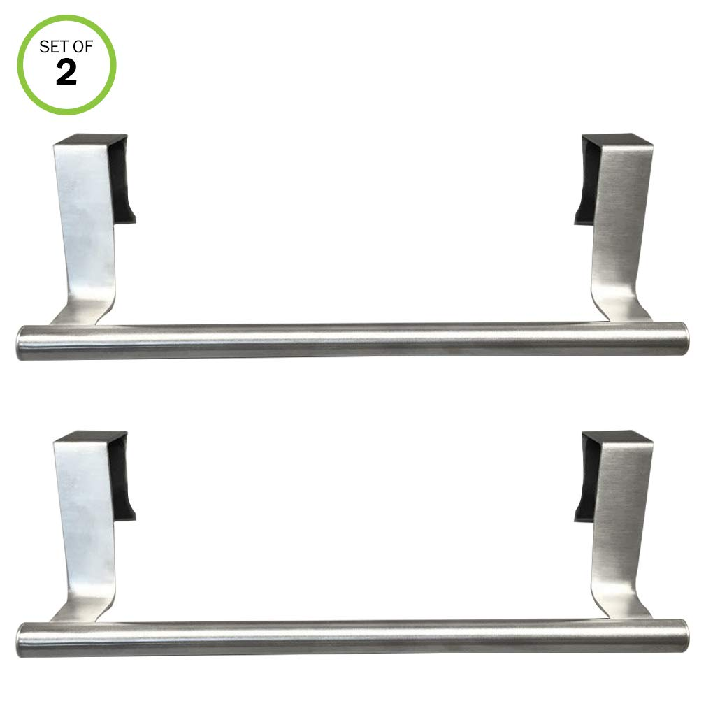 Evelots Set of 2 Over Cabinet 9.1'' Towel Bars, Stainless Steel, Kitchen Bathroom