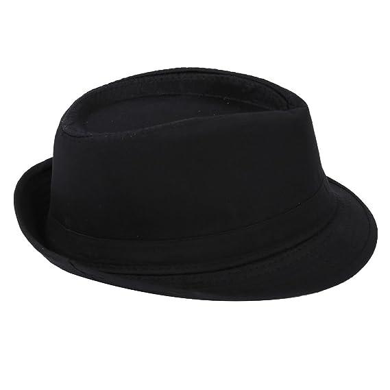 SODIAL(R) Fedora negro Sombrero liso para traje Accesorio para Gangster  Vestido de lujo  Amazon.es  Ropa y accesorios f6a77c17ae6