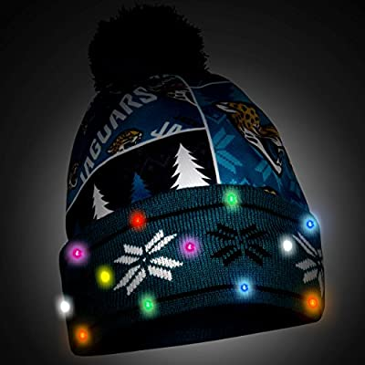 NFL Jacksonville Jaguars Busy Block Printed Light Up Beanie, One Size, Green