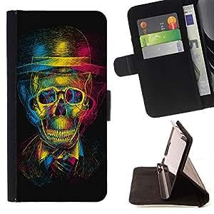 Jordan Colourful Shop - Design 3D Skull For Samsung Galaxy S6 - < Leather Case Absorci????n cubierta de la caja de alto impacto > -