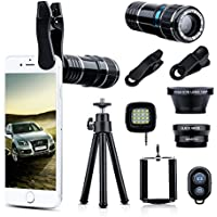 Wonyered 4-in-1 Cell Phone Camera Lens 12X Telephoto Lens...