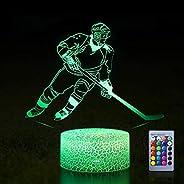 Hockey Night Light,Remote Control 3D Optical Illusion LED RGB Night Light Lamp for Kids Bedroom, Book Light fo