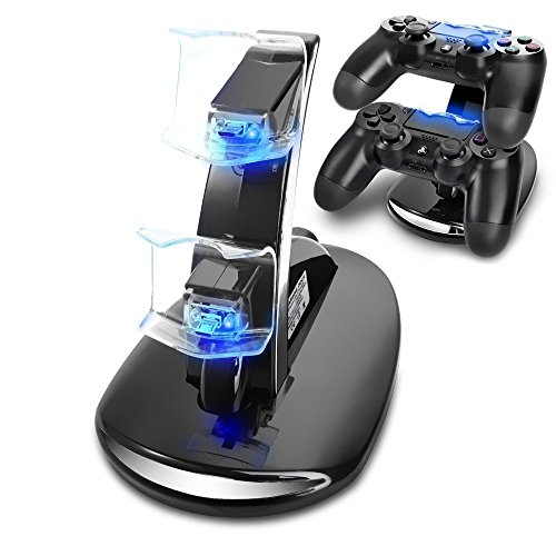 Cingk PS4 Controller Charger, Dual USB Charging Docking Station Stand with LED Lights for Playstation 4