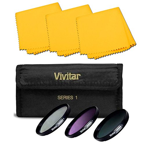 95mm Ultra Violet UV/ Circular Polarizer CPL /Florescent FDL Lens Filter Kit 95mm+ Pack Of 3 Microfiber Cleaning Cloth by VCC113