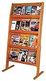 Wooden Mallet Slope 24 Pocket Standing Literature Display 4Hx6W, Medium Oak