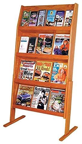 Wooden Mallet Slope 24 Pocket Standing Literature Display 4Hx6W, Medium Oak - Pocket Literature Floor Display