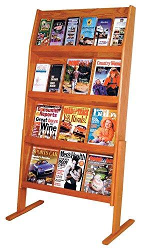 Wooden Mallet Slope 24 Pocket Standing Literature Display 4Hx6W, Medium Oak by Wooden Mallet
