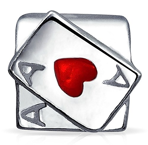 Ace Of Hearts Casino Poker Playing Card Game Charm Bead For Women For Teen 925 Sterling Silver Fits European Bracelet