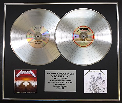 METALLICA/DOUBLE CD PLATINUM RECORD DISPLAY/LTD. EDITION/COA/MASTER OF PUPPETS & AND JUSTICE FOR ALL