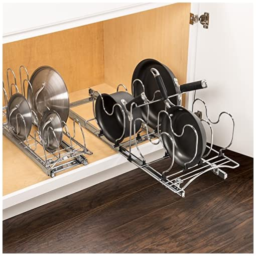 Kitchen Lynk Professional Cookware Organizer Pull Out Sliding Cabinet Shelf, 11 wx 21 d x 10.9 h – inch, Chrome pull-out organizers